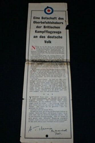 WW2 British RAF Royal Air Force Large Double Propaganda Leaflet Dropped Germany