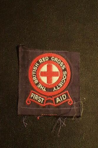 WW2 Era The British Red Cross Society First Aid Patch Bevo Embroidered Post-War