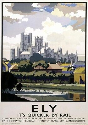 Vintage Railway Advertising  rail travel poster  A4 RE PRINT Ely
