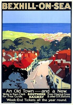 Vintage Railway Advertising  rail travel poster  A4 RE PRINT Bexhill on Sea