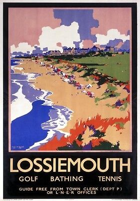 Vintage Railway Advertising  rail travel poster  A4 RE PRINT Lossiemouth