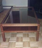 coffee table, wood with glass top