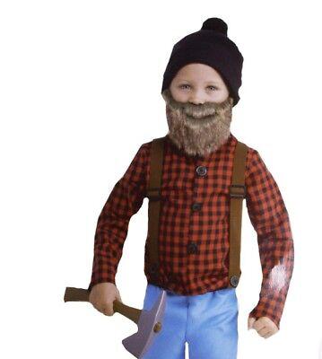 Boys LUMBERJACK Paul Bunyan Halloween Purim Folklore Costume BEARD 2T  NEW - Lumberjack Halloween Costume