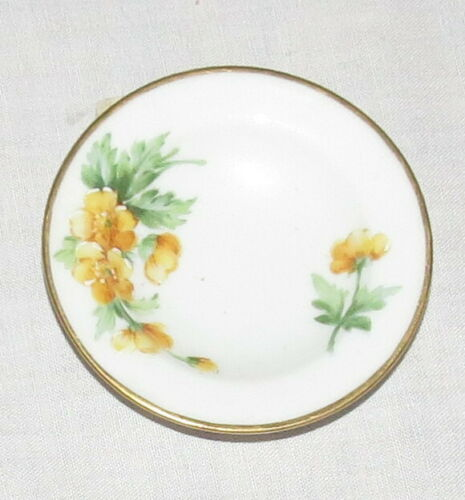 Royal Copenhagen 2.7/8 inch Butter Pat - Leaves + hand-painted Yellow Flowers