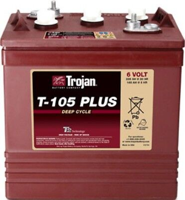 Battery Trojan T-105 Plus 6v 225 Ah. Sure Vent Golf Stud Std. Terminals Each