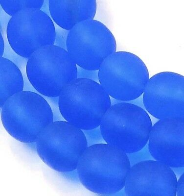 50 Czech Frosted Sea Glass Round Beads - Matte - Sapphire 6mm
