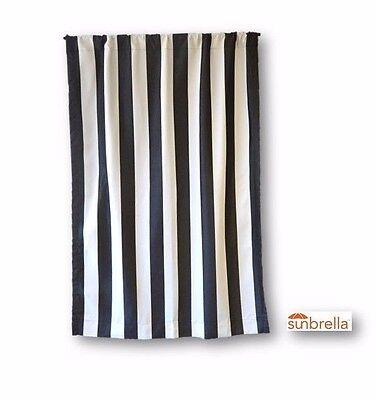Indoor Outdoor Rod-Pocket Curtain Panel-Sunbrella Cabana Classic Black and White ()