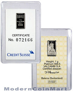 Credit Suisse 1 Gram .9995 Fine Platinum Bar New Sealed With Assay Cert SKU27579