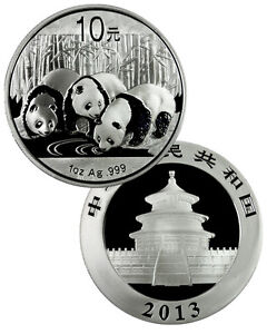 2013 China 1 Troy Oz .999 Fine Silver Panda 10 Yuan Coin SKU27293