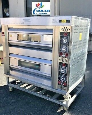 New Commercial Double Pizza Stone Oven Pizzeria Appetizer Cooker Lp Propane