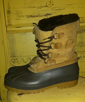 SOREL BADGER MENS WINTER HUNTING BOOTS CANADA WOOL LINED 7 M W/ NEW BATES LINERS