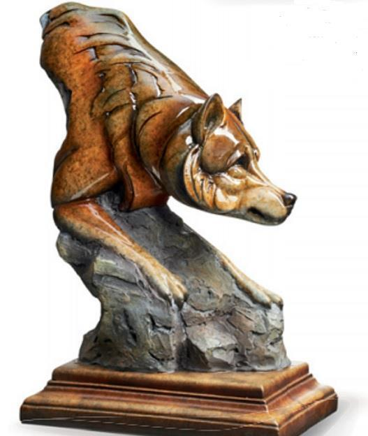 Bashful Wolf Imago Sculpture Stephen Herrero Mill Creek Studios for Wild Wings