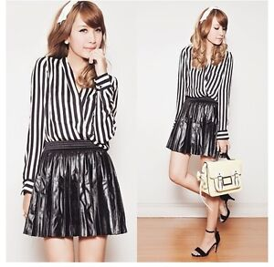 Edgy cross over contrast stripe top