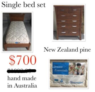 Beautiful Single bed with mattress and draws