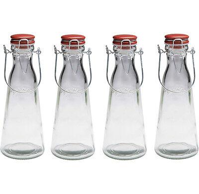 Set of 4 Kilner 1 Litre Vintage Glass Clip Top Handle Storage Bottles 1L Jar