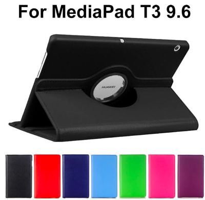 "360 Rotating Leather Case Cover For Huawei MediaPad T3 10 9.6"" [Black]"