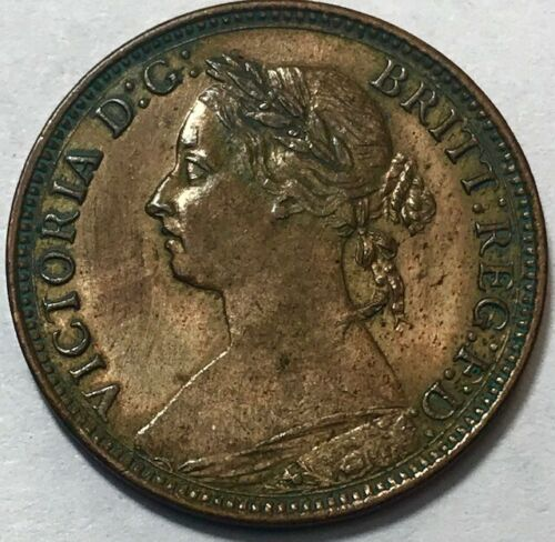 GREAT BRITAIN - Queen Victoria - Farthing - 1881H - TONED Uncirculated Coin!