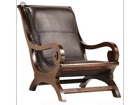 ANTIQUE SHIPS CHAIR / BALI CHAIR MADE FROM TEAK AND THE FINEST LEATHER - GRANNY CHAIR