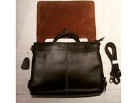 New Real Brown Quality Leather Carry or Shoulder Laptop Bag