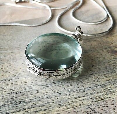 """Sterling Silver Antique Glass Round Locket Pendant Necklace 29"""" Brand New"""