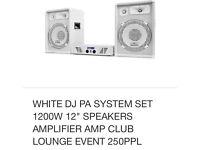 Ibiza 1200 watt pa amp and speakers white brand new in box