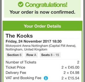 Kooks tickets - Nottingham - 24/11/17