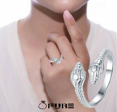 Classic Snake Ring 925 Sterling Silver Plated Adjustable Fashion Jewelry Women