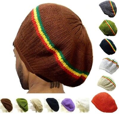 M/L Africa Crown Beret Rasta Hat Rastafari Jamaica Tam Marley Dreadlocks Cotton (Dreadlocks Hat)