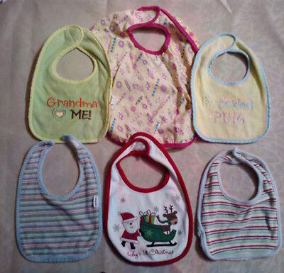 Toddler/Baby Bibs For Feeding or Drooling - Pastel & Holiday - 6 Pc Lot