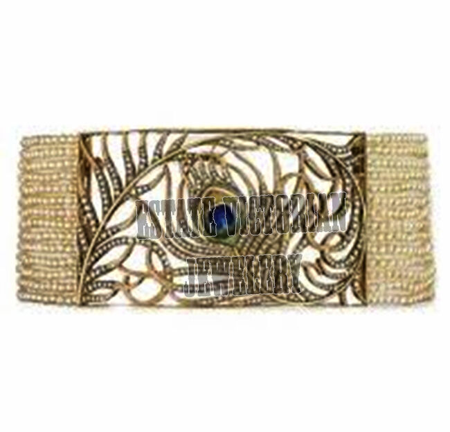 5.85ct Antique Cut Diamond Pearl Studded Silver Vintage Feather Bracelet Jewelry
