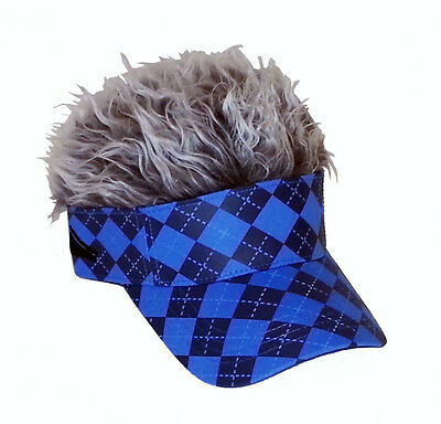 - FLAIR HAIR HATS WITH HAIR ARGYLE BLUE VISOR GREY HAIR QUALITY SKATE SNOW GOLF