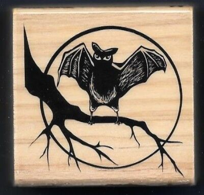NEW BAT Branch MOON SILHOUETTE night sky Halloween Craft Smart wood RUBBER STAMP (Halloween Silhouette Craft)