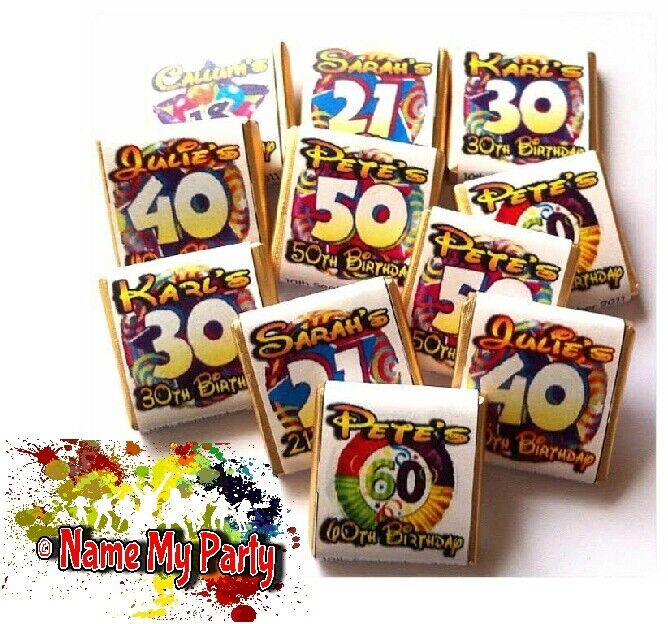 30 Personalised DIY Birthday Sweet Bag WRAPPERS 18th 21st 30th 40th 50th 60th
