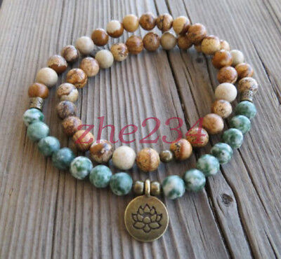 54 Mala ree Agate Picture Jasper beads Lotus necklace gemstone bracelet (Lotus Stone)
