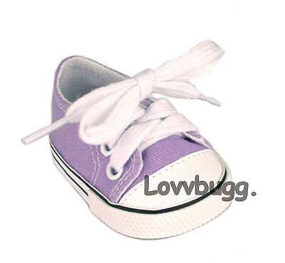 "Lovvbugg Lavender Purple Sneakers for 18"" American Girl or Boy or Bitty Baby Doll Shoes"