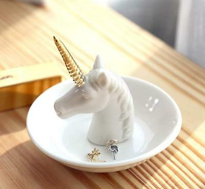 Unicorn Jewelry Ring Holder Dish Plate Rack Trinket Tray Dressing Table Decor