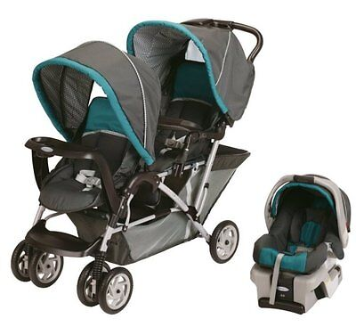 Graco DuoGlider Folding Double Baby Stroller w/ Car Seat Travel Set - Dragonfly on Rummage