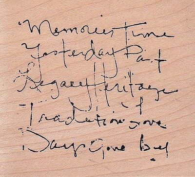 """memories quote art impressions  Wood Mounted Rubber Stamp 2 x 2""""  Free Shipping"""