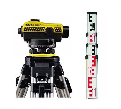 Cst Berger 55-slvp20nd 20x Auto Level W 4-meter Metric Rod Tripod Package