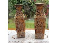 Pair of antique hand painted Japanese vases