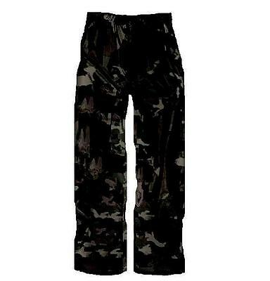 WATERPROOF WINDPROOF TROUSERS Mens S-XXL urban camouflage hiking gear Black Camo