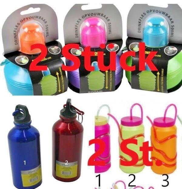 Trinkflasche 2er Sets Wasserflasche Kindertrinkflasche Aluminium Faltbar Kolben