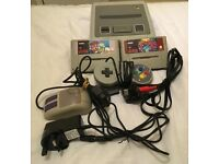 PAL SNES Super Nintendo with 2 games and cables/2 controllers *collection only*