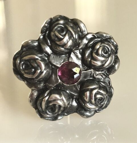 ART NOUVEAU UNGER BROTHERS ROSES MOTIF STERLING SILVER STICKPIN
