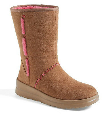 NEW UGG Womens I Heart Kisses Short Suede Boots Latte Brown/Hot Pink US 5/EUR 36](Hot Pink Ugg Boots)