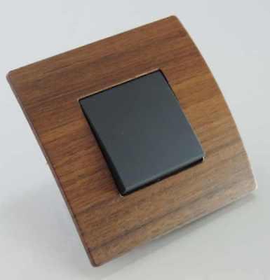 Serie Schwarz Holz (Design Orgon Wechselschalter schwarz mit Rahmen Holz Nuss Schalterserie #8953)
