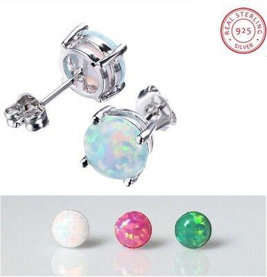 Women Classic 925 Sterling Silver Round Fire Opal Stud Earrings Gift Box PE19