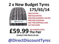 2 X BRAND NEW TYRES 175/65/14 SUPPLIED AND FITTED IN GAINSBOROUGH 175/65R14 £59.99 FOR 2 ALL INC