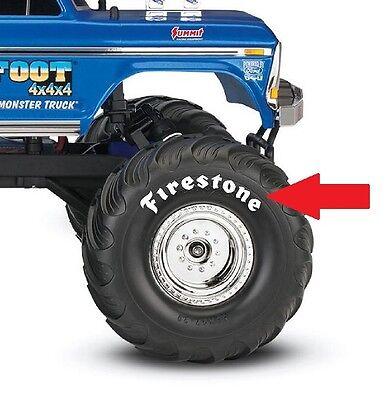 Traxxas Bigfoot Monster Truck Decorative Firestone Tire Decals White Set Of 8