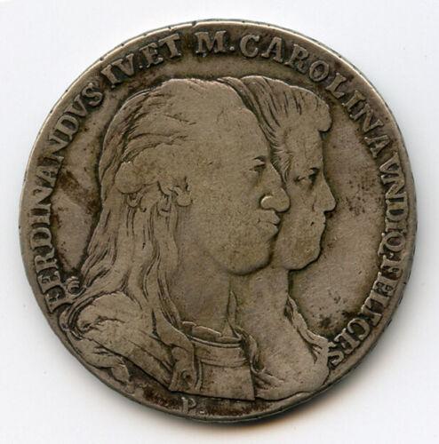 ITALY NAPLES 1791 KING FERDINAND IV 120 GRANA ZODIAC PIASTRA SCARCE TONED VF.
